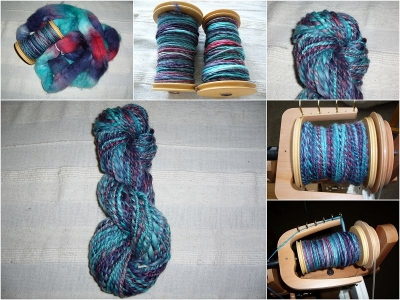 LGJ BFL Turquoise / Navy / Red - Yarn collage