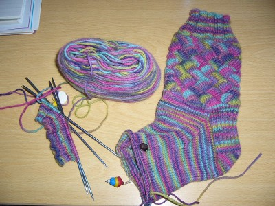 Entrelac socks in progress