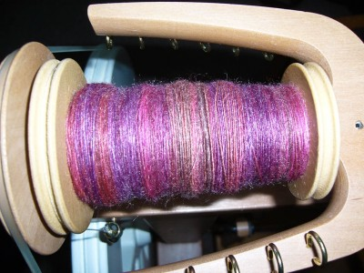 LGJ Merino-Tencel in Night Fever on the bobbin