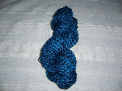 Navy Blue and Turquoise Corriedale - spun